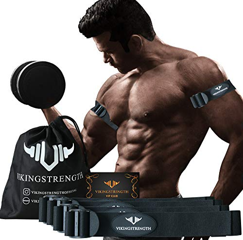 Vikingstrength Occlusion Blood Resistance Bands for Arms and Legs for Fitness and Bodybuilding, Get Lean Muscles Without Lifting Heavy Weights, Included Wrist Band