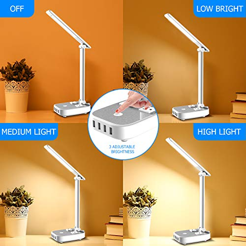Yostyle LED Desk Lamp Light with 4 USB Charging Port and 2 AC Power Outlet, 8.2FT Extension Cord Power Strip Station, 3 Level Brightness, Touch Dimmer Control,Eye-Caring Lamp for Bedside Office Hotel