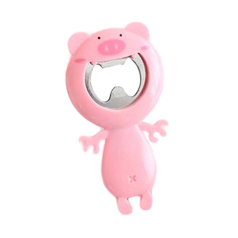 2 Pieces Bottle Opener PVC Shell Cute Pig Shape Bottle Opener Pink Bottle Opener