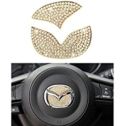1797 Compatible Steering Wheel Logo Caps Decals Stickers for Mazda Accessories Parts B 2 3 5 6 CX3 CX5 CX7 CX9 MX5 RX8 Covers Interior Inside Decorations Trim Women Men Crystal Gold 2 Pack