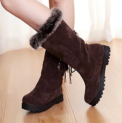 Lined Calf Snow Women's Brown Faux CHFSO Mid Winter Boots Up Elegant Solid Waterproof Fur Platform Lace Heel Mid wvxpgYZq