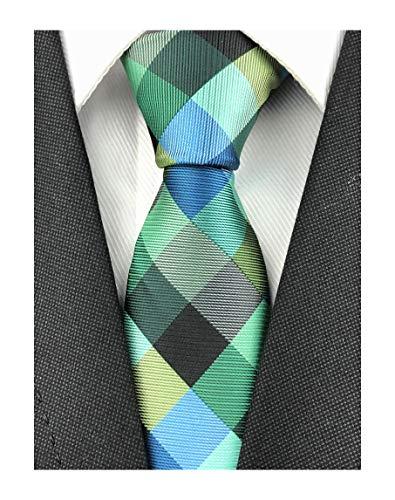 - Men's Teal Blue Green Silk Ties Daily Dress Meeting Novelty Pattern Neckties for Grooms