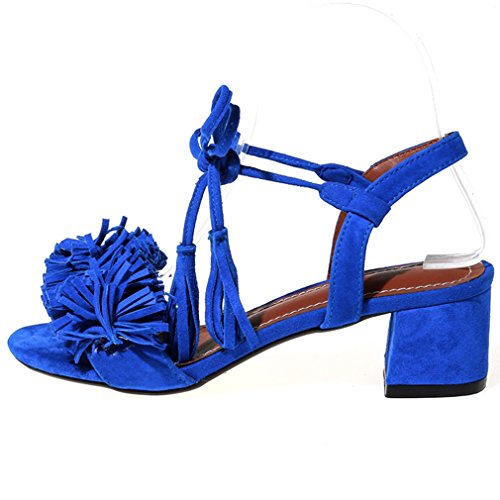 ENMAYER Womens Fashion Special Design Mid Heels Self Ties Sandals With Tassels Dark Blue WTkbCCo