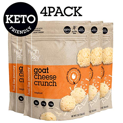 (HighKey Snacks Cheese Crunch - Goat Cheese & Egg White High Protein Cheese Crisps, Pack of 4, 2oz Bags - Keto Friendly, Gluten Free, Low Carb, Healthy Snack - Ketogenic Food with Natural Ingredients)