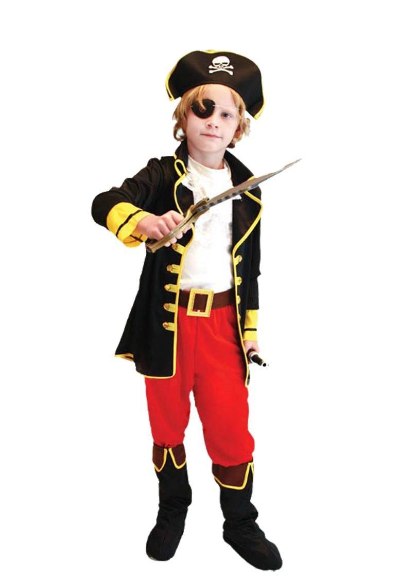 M Tacobear Costume Pirata Bambino con Pirata Accessori Pirata Cappello Toppa pugnale Bussola Borsa orecchino Medaglione doro Pirata Costume Halloween per Bambini 4-6 anni