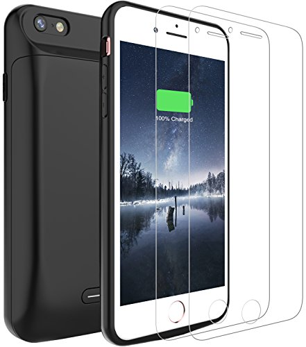 iPhone 6/6S Battery Case,Peyou® 5000mAh [Lightning Charging Interface] No Extra Chin Charging Case Plus 2-Pack Tempered Glass Screen Protector For Apple iPhone 6/iPhone 6S 4.7 Inch, Protective Extended Backup Charger Power Bank Cover