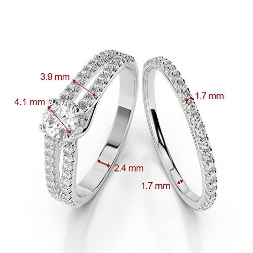 Or Rose 18carats 1CT G-H/VS sertie de diamants Coupe ronde de mariage Bague de fiançailles et ensemble de Agdr-2035