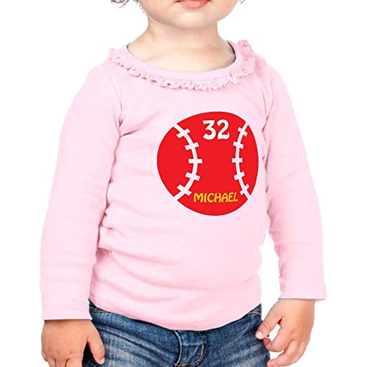 6129e1eea Personalized Custom Birthday Baseball Souvenir Cotton Taped Neck Girl  Toddler Long Sleeve Ruffle Shirt Top Sunflower