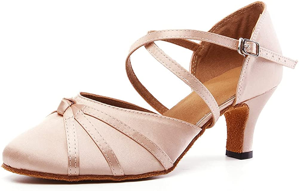 VCIXXVCE Women's Washington Limited time trial price Mall Ballroom Latin Dance Toe Satin Closed Shoes Sal