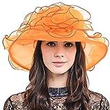 Womens Organza Church Dress Derby Wedding Floral Tea Party Hat S09 (Orange)
