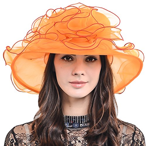 Womens Organza Church Dress Derby Wedding Floral Tea Party Hat S09 (Orange) by HISSHE