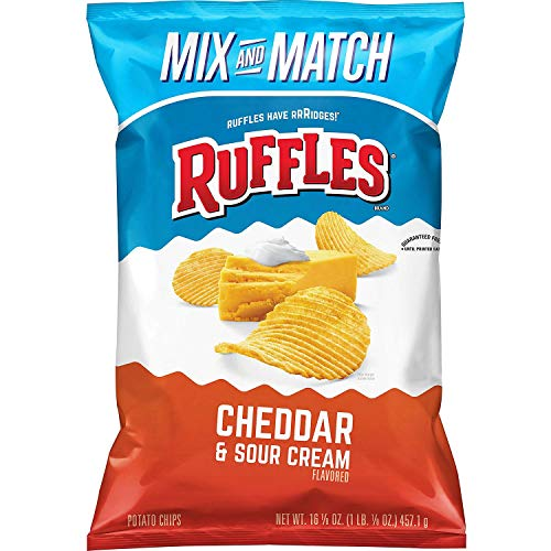Ruffles Cheddar and Sour Cream Potato Chips, Party Size 16.12 oz   Pack of 3