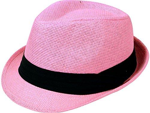 Simplicity Men/Women Summer Short Brim Straw Fedora Hat, 756_Light Pink LXL]()