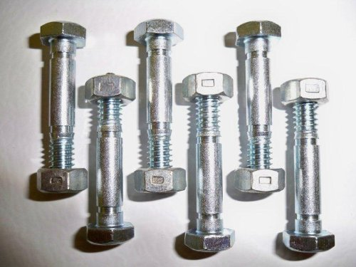 6 Pack, Shear Pins and Nuts, Replaces Ariens 532005, 53200500.