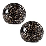 "Glitter 3"" Black and Gold Glass Ball Paperweights, Pack of Two (Bundle)"