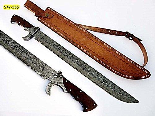 (Poshland Sw-555, Handmade Damascus Steel 23 Inches Sword - Beautiful G-10 Micarta Handle with Damascus Steel Bolsters)