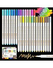 Rotuladores metálicos, YITHINC 30 colores brillantes. Marcadores metálicos, punta fina. Marcadores permanentes para pintura en roca, papel negro, tarjetas de regalo, álbum de recortes, tela, metal