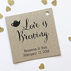 Love Is Brewing Kraft Favor Tags, Coffee Pot Wedding Favor Tags, Wedding Hang Tags (SQ-096-KR)