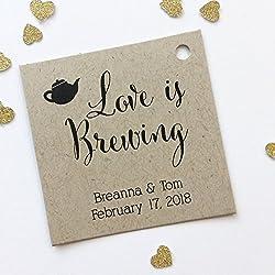 Love Is Brewing Kraft Favor Tags, Coffee Pot Wedding Favor Tags, Wedding Hang Tags (SQ-096-KR)