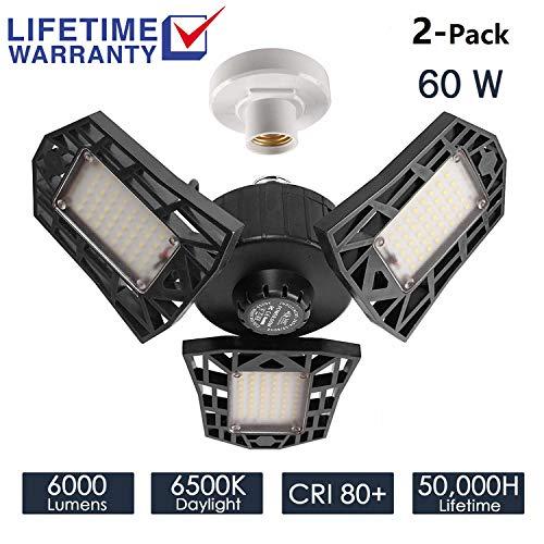 2-Pack Garage Lights 60W LED Garage Lighting