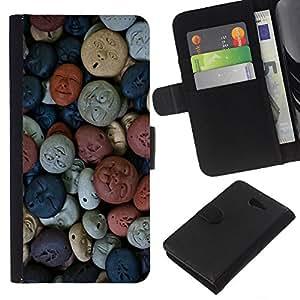 Planetar® Modelo colorido cuero carpeta tirón caso cubierta piel Holster Funda protección Para Sony Xperia M2 / M2 dual ( Abstract Art Pattern Pastel Original )