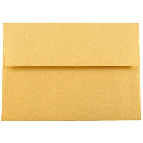 JAM PAPER 4Bar A1 Metallic Invitation Envelopes - 3 5/8 x 5 1/8 - Gold Stardream - 25/Pack