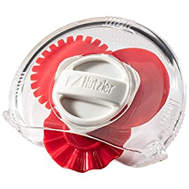 Hutzler 3856RD Adjustable Pastry Wheel, One Size, Red 48 Select your choice of 3 dough cutting edges: straight, fluted, and perforated (dough docker) Simply turn the dial to select the desired edge Sides come apart for easy cleaning
