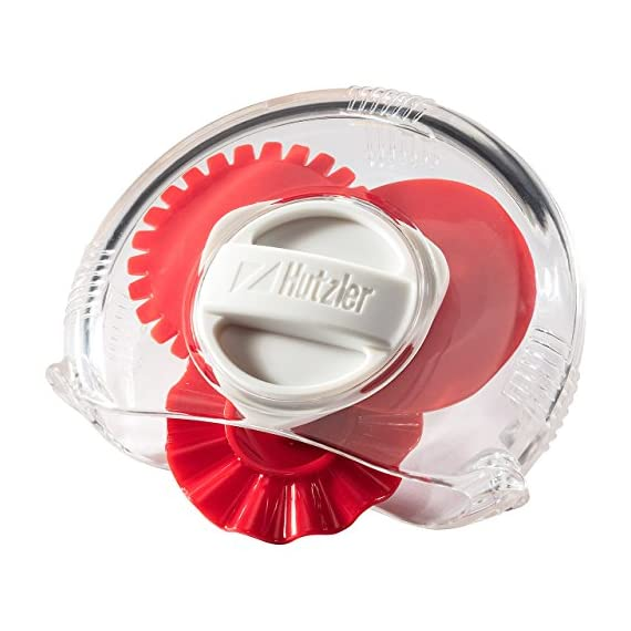 Hutzler 3856RD Adjustable Pastry Wheel, One Size, Red 1 Select your choice of 3 dough cutting edges: straight, fluted, and perforated (dough docker) Simply turn the dial to select the desired edge Sides come apart for easy cleaning