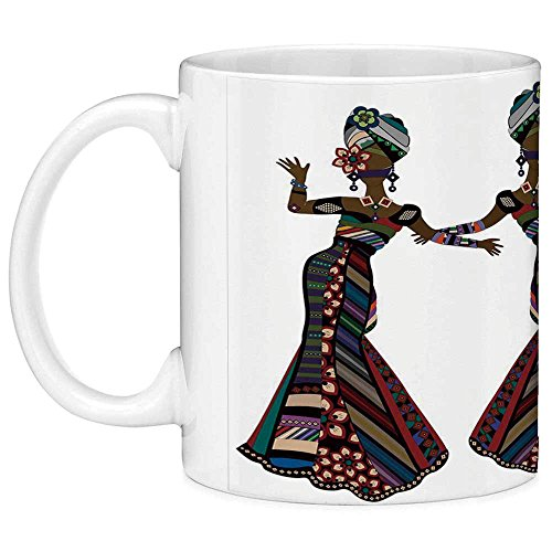 Lead Free Ceramic Coffee Mug Tea Cup White African Woman 11 Ounces Funny Coffee Mug Young Women in Stylish Native Costumes Carnival Festival Theme Dance Moves Decorative Multicolor for $<!--$9.99-->