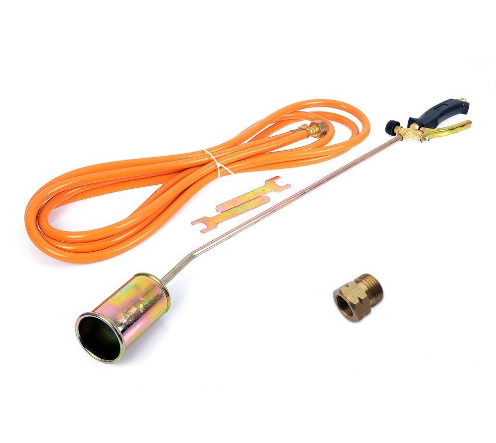 Gasbrenner Abflammgerät Brenner Unkrautvernichter Dachbrenner 85cm mit Adapter -