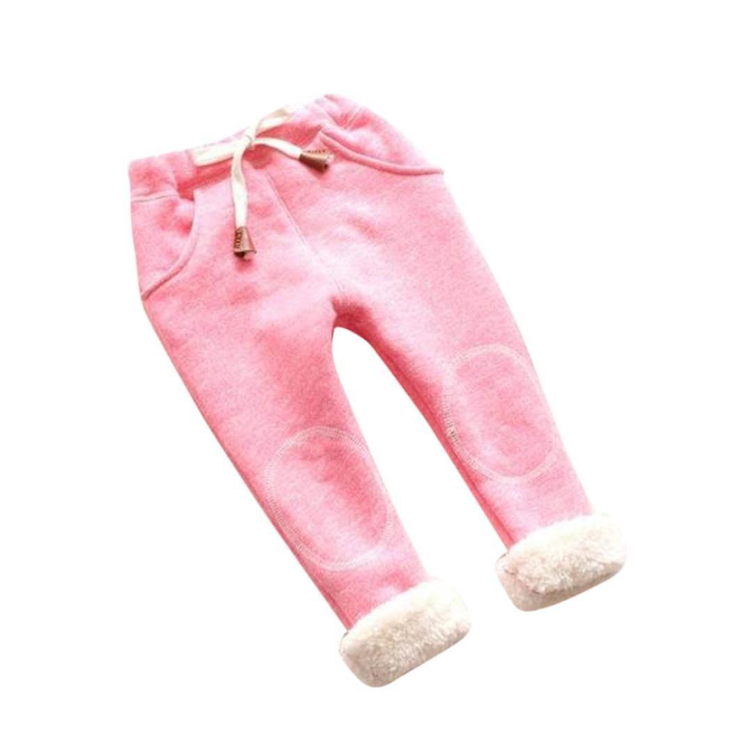 Tenworld Baby Leggings, Toddler Girls Winter Warm Fleece Lined Legging Pants (3T, Pink)