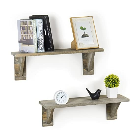 MyGift 24-Inch Rustic Barnwood Gray Wooden Floating Wall Shelves, Set of 2 - FARMHOUSE STYLE: Set of 2 wooden floating shelves with rustic weathered gray finish. RUSTIC DECORATIVE ACCENT: Simple design and lightly distressed look add stylish storage to rustic decors. VERSATILE STORAGE: Can be used for spices or dinnerware in the kitchen, decorative objects in the entryway, or for merchandise in retail shops. - wall-shelves, living-room-furniture, living-room - 512s3FD30aL. SS570  -