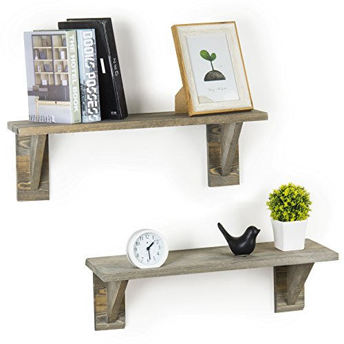 MyGift 24-Inch Rustic Barnwood Gray Wooden Floating Wall Shelves, Set of 2 For Sale