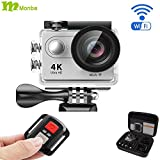 Monba ME10(Silver Color) 4K Sports Action Camera waterproof wifi camcorder 12MP 170 Ultra Wide Angle- 2x1050mAh Batteries portable package Accessory Set and Wireless Remote control Action Cameras Monba