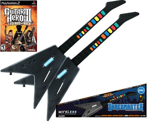 PS2 Guitar Hero 3 + 2 x PS2 Shredmaster Wired / Wireless Rechargeable Guitars (Carbon Fiber / Black)