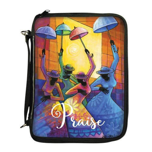 African Covers Bible (African American Expressions - Praise/Ladies With Umbrellas Bible/Book Organizer (7.5