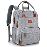 Diaper Bag Backpack, Sungwoo Large Multifunction Waterproof Travel Back Pack Maternity Baby Nappy Bag for Mom & Dad with Changing Pad, Insulated Pocket, Stroller Straps, Large Capacity, Gray