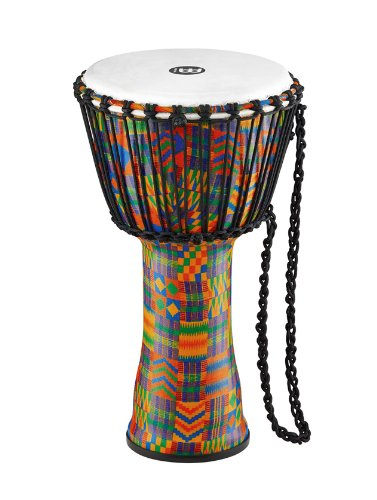 Meinl Percussion Travel Djembe with Synthetic Shell and Head-NOT Made in CHINA-10 Medium Size, Rope Tuned, Kenyan Quilt, 2-Year Warranty, 10'' (M) (PADJ2-M-F)