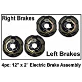 Auto Express 4pc Electric Trailer Brake 12' x 2' Assembly Right & Left Side 6000 7000 Axle