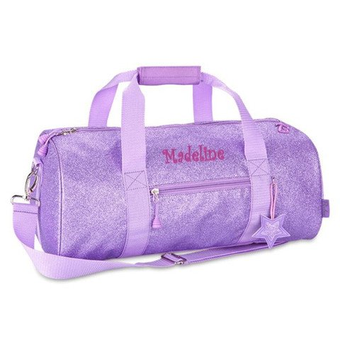"Personalized Bixbee ""Sparkalicious"" Purple Glitter Duffel Bag – Large For Sale"