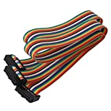 Uxcell Connector IDC Flat Ribbon Cable, 50 cm, 16 Pin, 16 Way, F/F, Rainbow Color for DIY, 2 Pieces