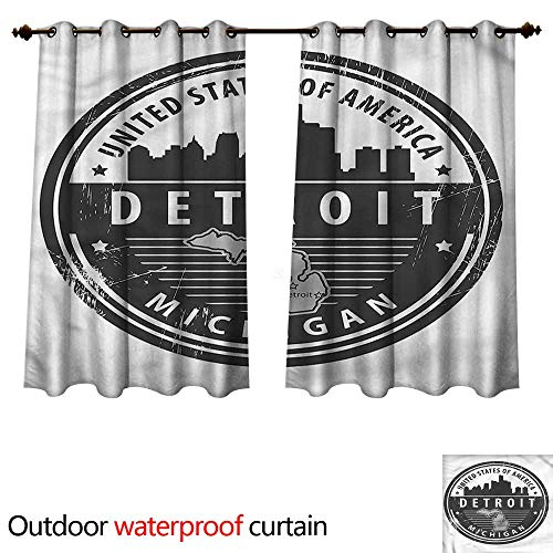 cobeDecor Detroit Outdoor Curtains for Patio Sheer Michigan Old Stamp W108 x L72(274cm x 183cm)