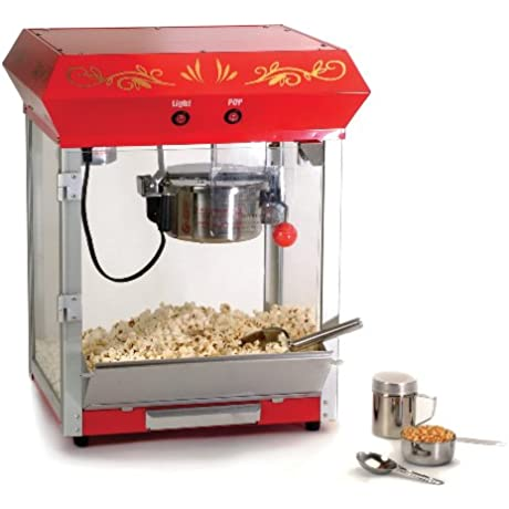 Elite Deluxe EPM 450 Maxi Matic 4 Ounce Old Fashioned Tabletop Popcorn Popper Machine With Accessories Red