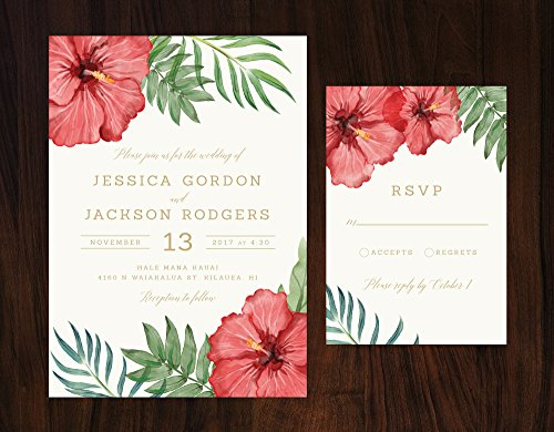 Tropical Wedding Invitation, Tropical Flowers Wedding Invitation, Hibiscus Invitation, Destination Wedding Invite by Alexa Nelson Prints