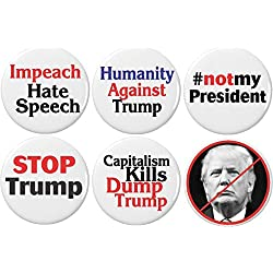 "Set 6 Not My President Anti Against Donald Trump 2.25"" Magnets Capitalism Kills Impeach"