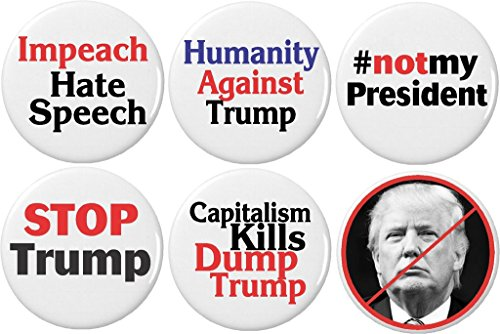 """Set 6 Not My President Anti Donald Trump 1.25"""" Buttons Pins Capitalism (Gifts Button)"""