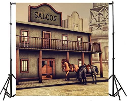 6x6ft Horses On Vintage Western Street Backdrop Wild West Town Retro Wooden Saloon Old Cabin Bar Photography Background Gold Rush Miner Photo Studio Props American History Culture Wallpaper