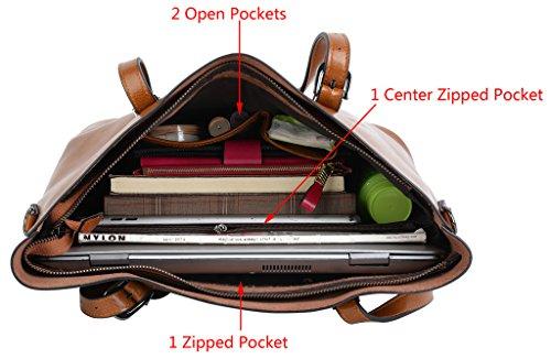 Yaluxe Damen Urban Stil Leder Arbeit Handtasche Shopper gross Capacity Crossbody Schultertasche braun braun FXhecQ5