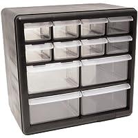 Homak 12-Drawer Parts Organizer, Black, HA01012001