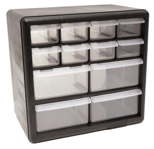 Homak HA01012001 12-Drawer Parts Organizer, Black Small Item Storage